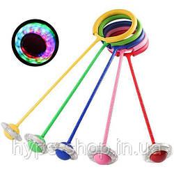Скакалка дитяча на одну ногу світиться LED (Нейроскакалка крутилка з коліщатком ) кінетична скакалка
