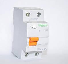 Дифференциальный выключатель (УЗО) Schneider Electric Домовой ВД63, 2P 40А 30мА,  11452