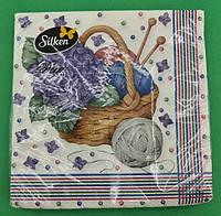Дизайнерская салфетка (ЗЗхЗЗ, 16шт)  Silken Корзинка сирени (1 пач)