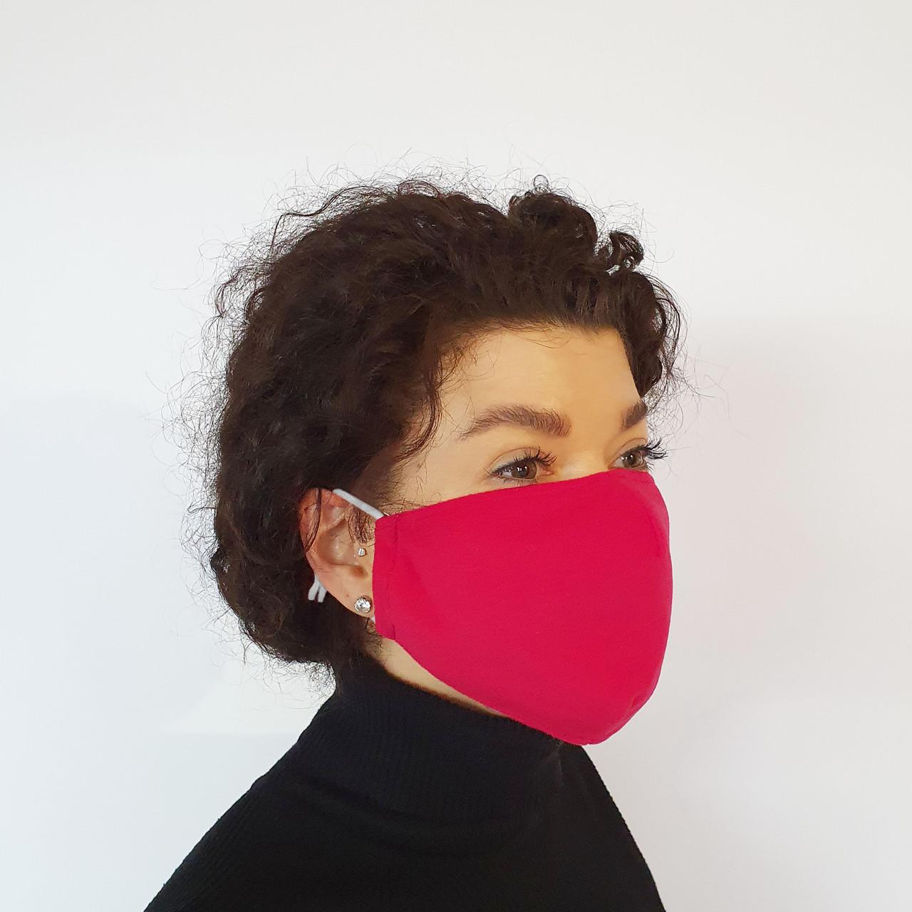 Маска защитная Золушка на лицо многоразовая 2-х слойная Красная (М2006)