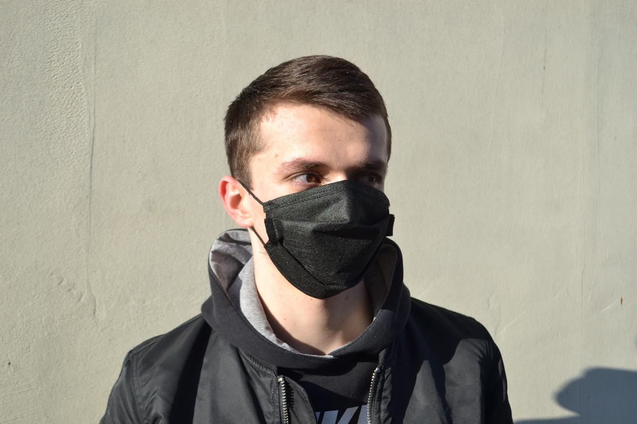 Маска для лица защитная тканевая MHZ уплотненная Черный (iz12123)