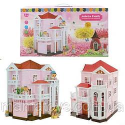 Кукольный Домик 1513 Счастливая семья трехэтажный со светом Розовый Anbeiya family