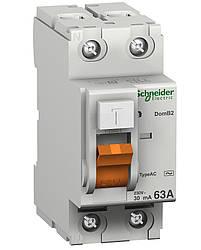 Дифференциальный выключатель (УЗО) Schneider Electric Домовой ВД63, 2P 63А 30мА,  11455