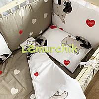Детское постельное бельё Мопсики (9 предметов)
