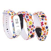 Силиконовый ремешок РОМАШКИ № 7 на фитнес трекер часы Xiaomi mi band 3 / 4 браслет аксессуар замена