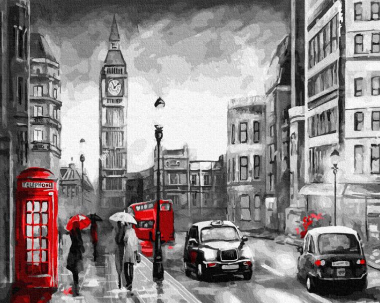 """Картина по номерам """"Дождливый Лондон"""" Rainbow Art"""