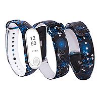 Силиконовый ремешок СИНИЕ САЛЮТЫ № 26 на фитнес часы Xiaomi mi band 3 / 4 браслет аксессуар замена