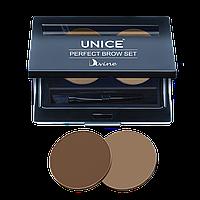 Набор для макияжа бровей Unice Divine PBS02, 2 х 2,5 г