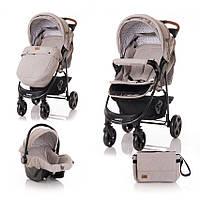 Прогулочная коляска + автокресло Lorelli Daisy Set бежевая для детей от 6-ти месяцев и до 3-х лет