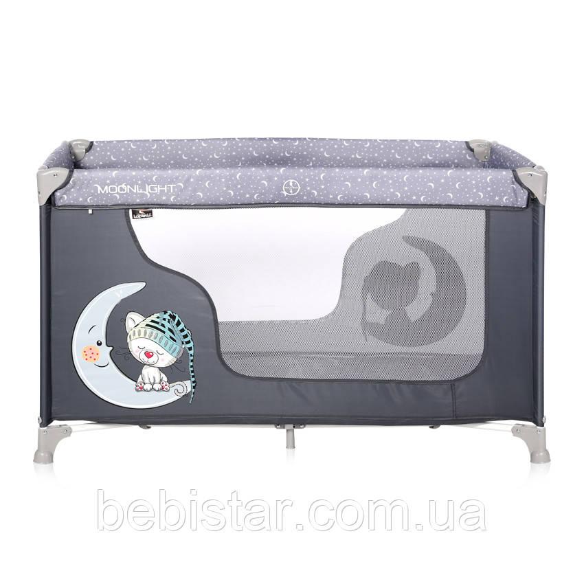 Кровать-манеж серый Moonlight 1L Grey Cute Moon с рождения до 3-х лет