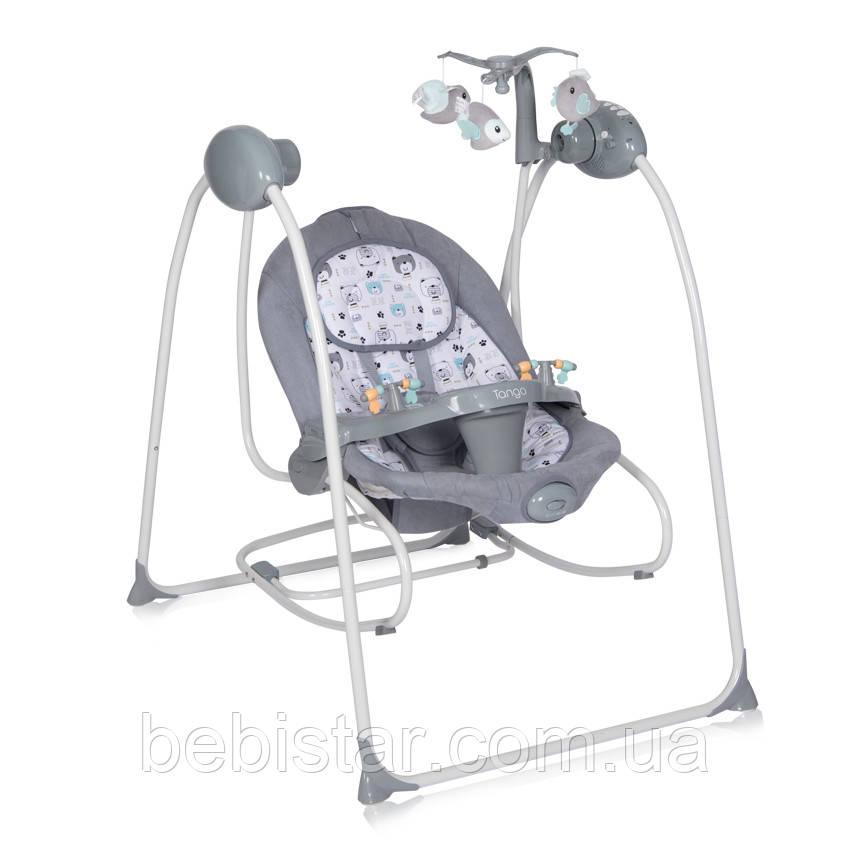 Детская качалка шезлонг-качели серая с МР3 на дистанционном управлении Lorelli Tango от рождения до 9 месяцев