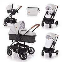 Детская универсальная коляска-трансформер с автокреслом светло-серая Lorelli S-500 set с рождения до 3-х лет