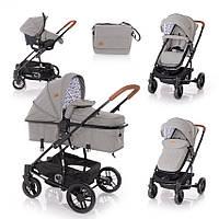 Детская универсальная коляска-трансформер с автокреслом темно-серая Lorelli S-500 set с рождения до 3-х лет