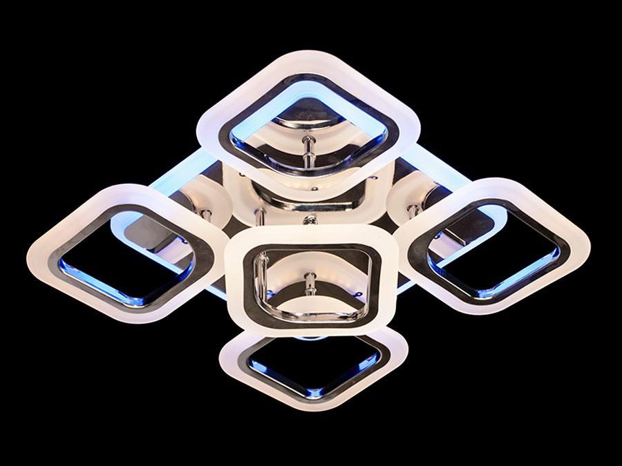 Люстра светодиодная с пультом диммер в спалю на 14 кв.м цвет хром черный хром 65W Линия солнца&5588-4+1S CH
