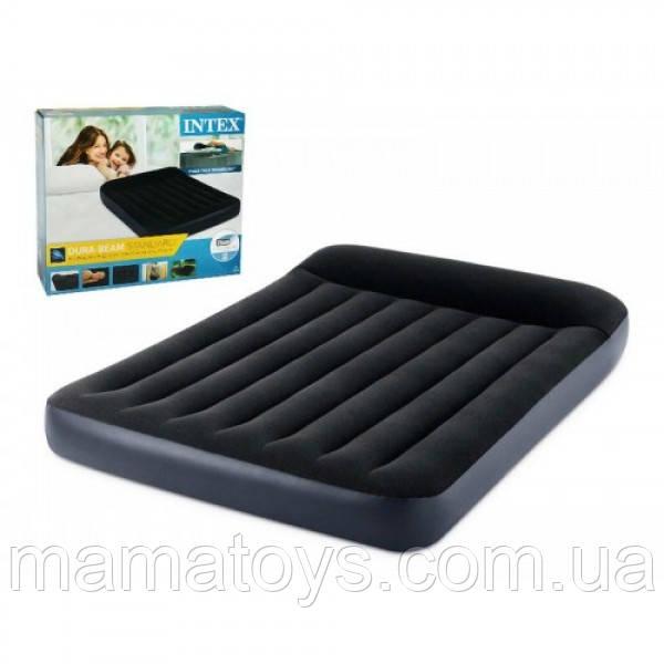 Надувной матрас кровать с подголовником 64142 Intex Полуторный 137-191-25 см