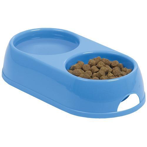 Двойная миска Moderna ЭКО для собак и кошек, пластик, синий, 2×230 мл, d-9 см