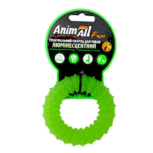 Игрушка AnimAll Fun кольцо с шипами для собак, люминесцентная, 9 см, зеленая