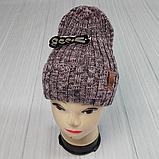 М 94052. Шапка с отворотом женская, подростковая, разние цвета, размер универсальный, фото 5