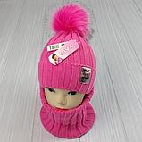 М 94063. Комплект зимовий для дівчинки шапка і баф , різні кольори (3-12 років), фото 6