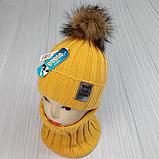 М 94063. Комплект зимовий для дівчинки шапка і баф , різні кольори (3-12 років), фото 2