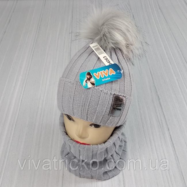 М 94063. Комплект зимовий для дівчинки шапка і баф , різні кольори (3-12 років)