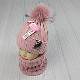 М 94063. Комплект зимовий для дівчинки шапка і баф , різні кольори (3-12 років), фото 8