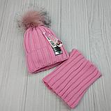 М 94063. Комплект зимовий для дівчинки шапка і баф , різні кольори (3-12 років), фото 5