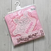 Махровое полотенце с уголком и рукавичкой Princess розовое