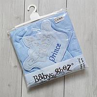 Махровое полотенце с уголком и рукавичкой Prince голубое