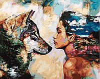 Картина по номерам. Rainbow Art  Волк и женщина