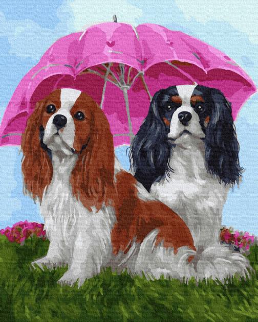 Картина по номерам. Rainbow Art  Собачки под зонтом