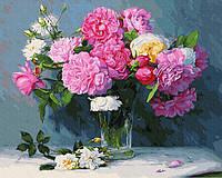 Картина по номерам. Rainbow Art  Букет из розовых пионов