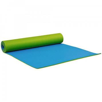 Коврик для йоги и фитнеса 1730х610х6 мм двухслойный PVC цвет  зелено - голубой