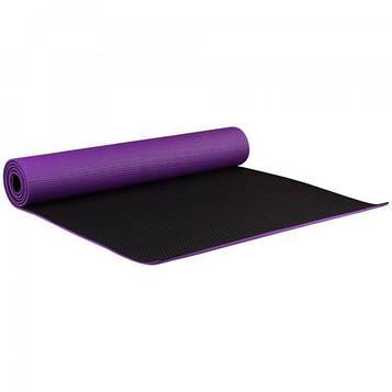Коврик для йоги и фитнеса 1730х610х6 мм двухслойный PVC цвет  черно - фиолетовый