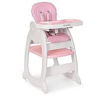 Раскладной стульчик и столик для кормления «Bambi» M 3612-5 для девочки  цвет розовый