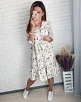 Платье женское сарафан  софт   чёрное молочное Платье свободного кроя, с карманами, воротник стойка рукав 3/4