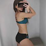Купальник женский раздельный с асимметричными плавками (бирюзовый) M, фото 2