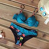 Купальник женский раздельный с асимметричными плавками (бирюзовый) M, фото 3