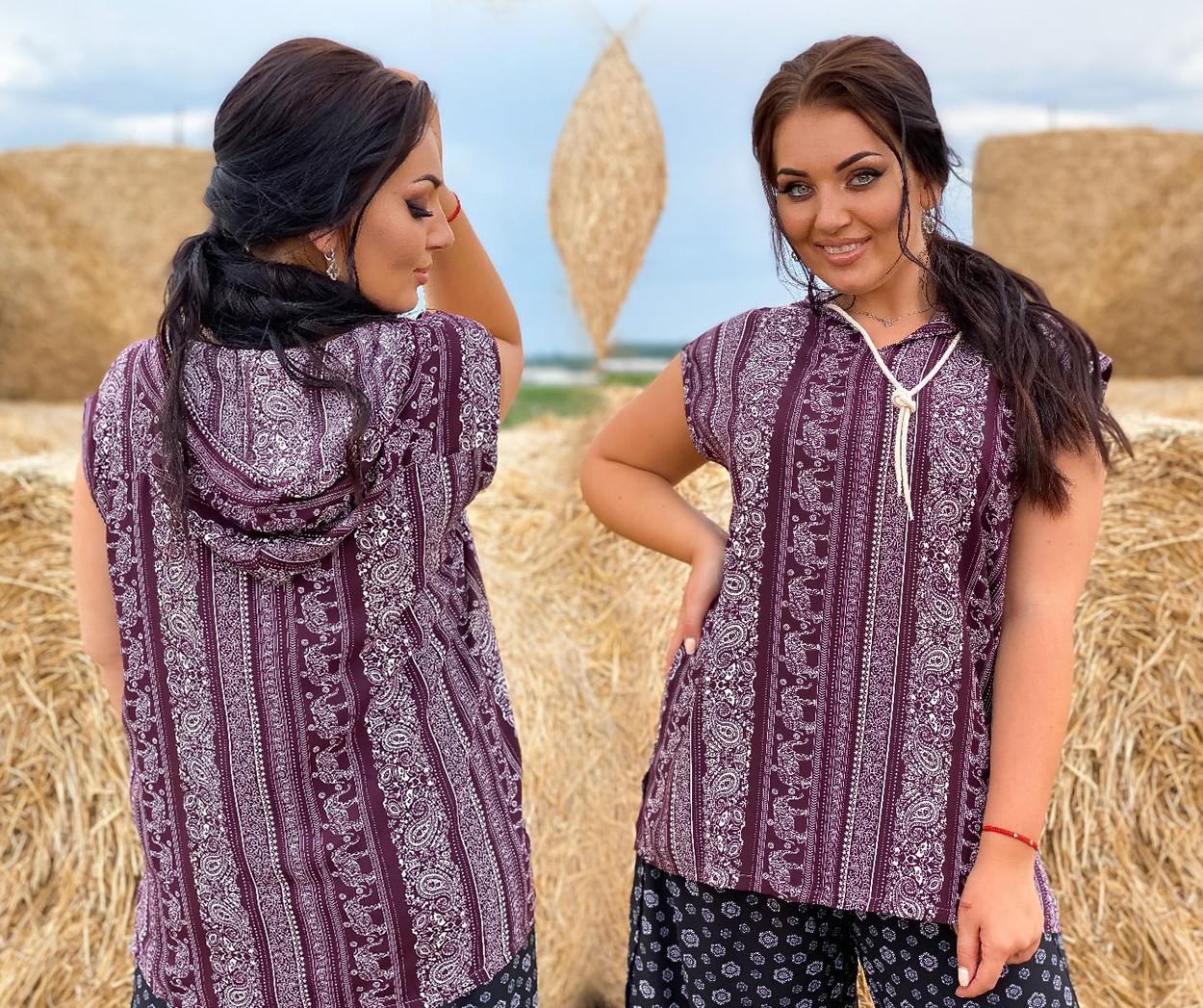 """Летняя женская блузка в больших размерах 105 """"Штапель Принт Капюшон"""" в расцветках"""