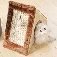 Когтеточка для кошек игровой домик меховой