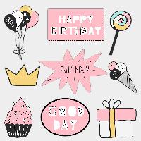 Фотобутафория на день рождения Розовая 9 элементов
