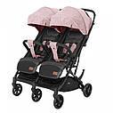 Коляска прогулочная для двойни розовая с дождевиком Carrello Presto Duo от 6 мес до 4 лет, фото 2