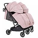 Коляска прогулочная для двойни розовая с дождевиком Carrello Presto Duo от 6 мес до 4 лет, фото 3