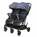 Коляска прогулочная для двойни синяя с дождевиком Carrello Presto Duo CRL-5506 Oxford Blue от 6 мес до 3-4 лет, фото 2