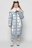 Пуховик детский зимний лаковый девочке DT-8305 | на рост от 110-158р. мех каракуль