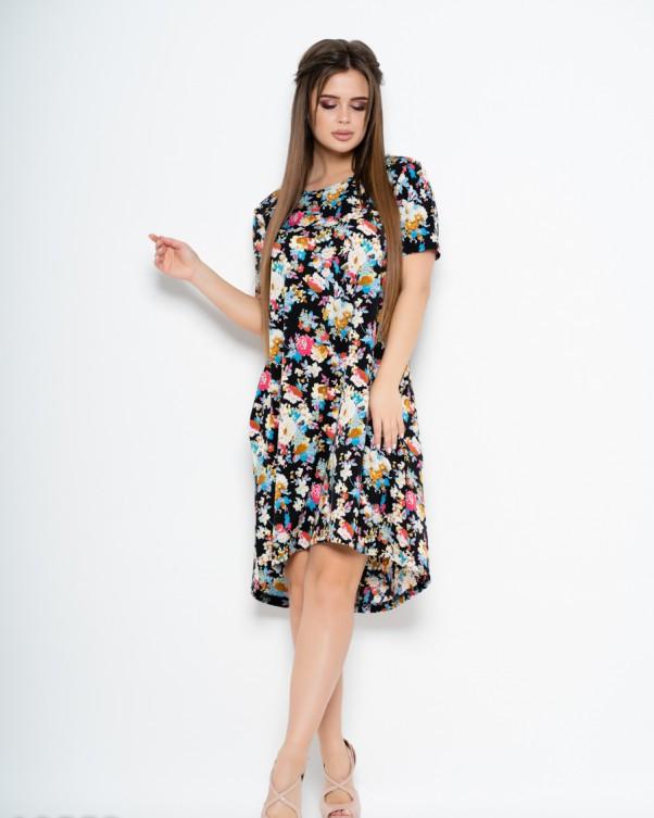 Принтованное платье с короткими рукавами и карманами S