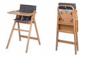 Стільчик для годування Nordik Natural Wood Safety з вкладкою Geometric