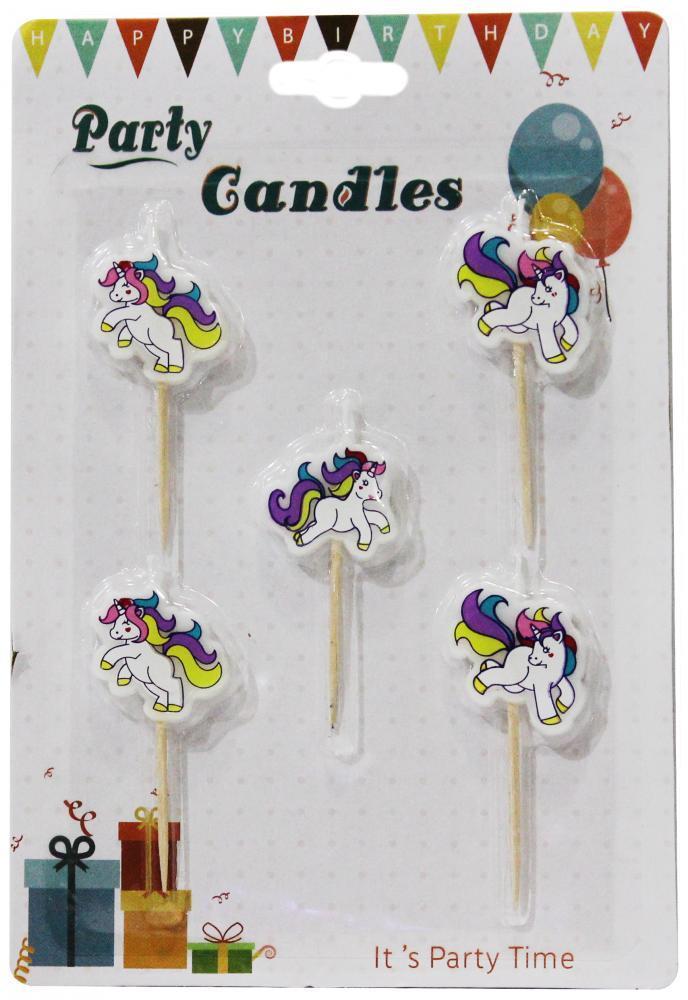 """Свечи для торта """"Единорожки"""", 5 штук"""