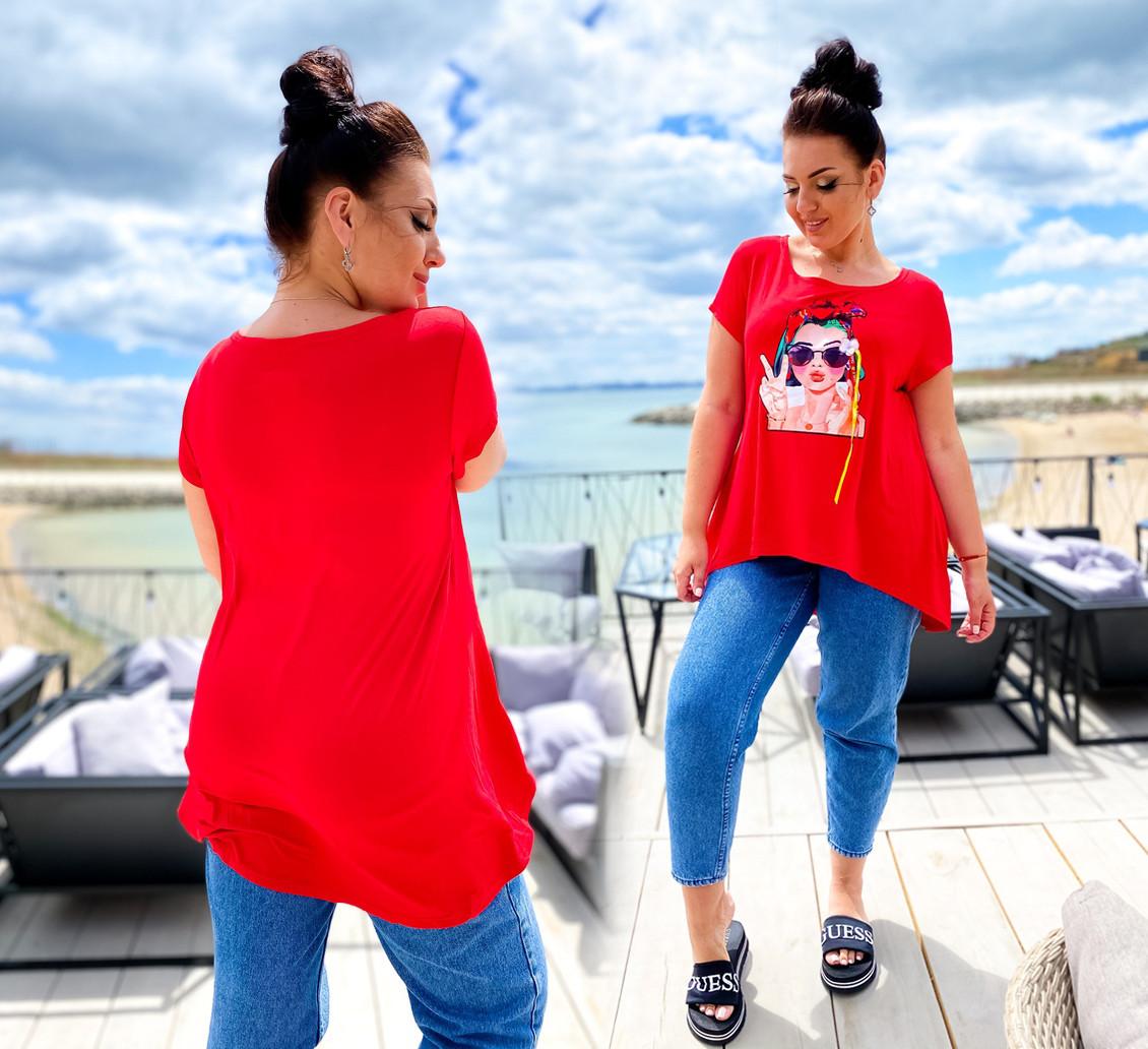 """Женская стильная футболка-туника в больших размерах 41306 """"Ассиметрия Нашивка Фотопринт"""""""