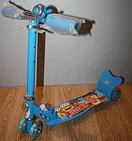Самокат детский четырехколесный колеса со светом, звонок 12016